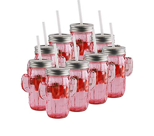 Circlеwаrе Premium Pink Mason Jar Drinking Glasses with Metal Lids and Hard Plastic Straws Huge Set of 9 Glassware for Water Beer and Kitchen & Home Decor Bar Dining Beverage Gifts 15.5 oz Cactus from Circlеwаrе