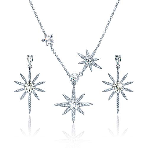 GAEA H Star Earrings and Necklace Set for Women Sterling Silver, Rhinestone from Swarovski Crystal Jewelry Sets ()