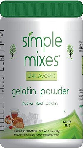 Simple Mixes Natural Unflavored Beef Gelatin Powder, Kosher, 1 Pound (Knox Beef Gelatin)