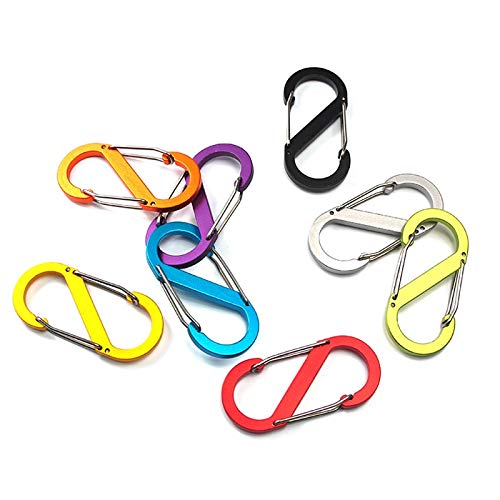 LINAE Outdoor Tools - pcs/lot Small S-Shaped 8 Shaped Type Buckle Double Gated Locking Carabiner Key Ring Keychain Clip Hook Snap Spring Outdoor 1 PCs from LINAE