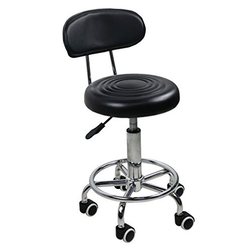 Swivel Salon Stool Chair With Backrest Adjustable Hydraulic Chair With Rolling Wheels For Beauty Salon Spa Tattoo Massage Dental Clinic Office Art Studio