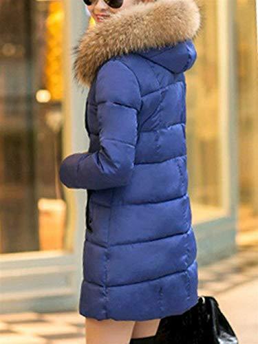 Giacca Invernali Ragazza Lunga Piumino Incappucciato Monocromo Outerwear Cappotto Eleganti Alla Cappotti Autunno Cerniera Laterali Trapuntata Moda Manica Tasche Donna Blau Con qtw1tr