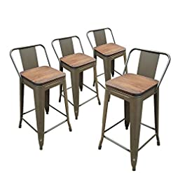 Farmhouse Barstools Metal Bar Stools Farmhouse Counter Height Bar Stools 24″ Seat Height Set 4 Bronze with Wood Seat and Low Back Delivery Time: 5 to 7 Days farmhouse barstools