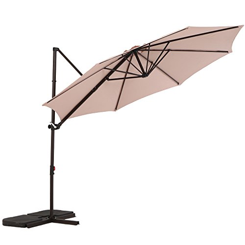 LCH 10ft Offset Cantilever Umbrella Outdoor Patio Backyard Market, Easy Open Lift, Cross Base Stand, 360 Degree Rotation, UV Protective, Beige/Khaki