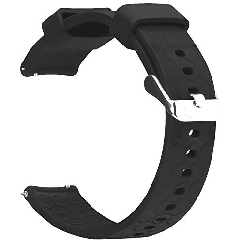 RuenTech Bands Compatible with Garmin Vivoactive 3 / Vivomove HR Watch Band 20mm Quick Release Silicone Bands (Black)