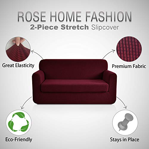 RHF Jacquard Stretch 2-Piece Sofa Cover, 2-Piece Slipcover for Leather Couch-Polyester Spandex Sofa Slipcover&Couch cover for dogs, 2-Piece sofa protector(Sofa: Burgundy) by Rose Home Fashion (Image #1)