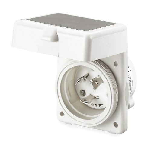 (Hubbell - HBL303NM - White Flanged Locking Inlet, 30 Amps, 120VAC Voltage, NEMA Configuration: L5-30P)