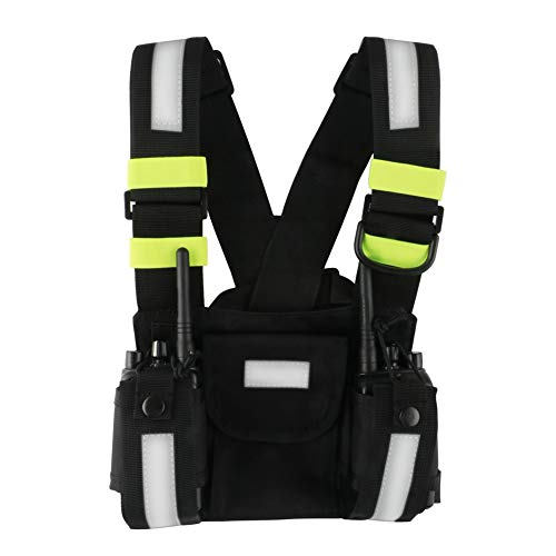 2 Way Radios Harness Chest Case with Front Pouches and Zipper Bag for Universal Walkie Talkies Accessories(Green)