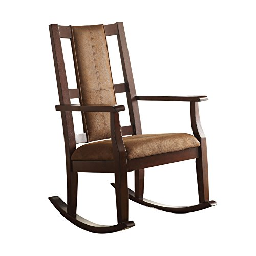 Rustic High Back Rocking Chair - Acme Furniture 59378 Butsea Rocking Chair, Brown Fabric/Espresso