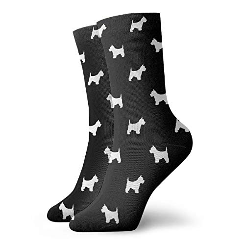 Westie West Highland Terrier Dog Silhouette Black Casual Fashion Crew socks Casual Funny For sports boot hiking running etc. (Westies Boots)