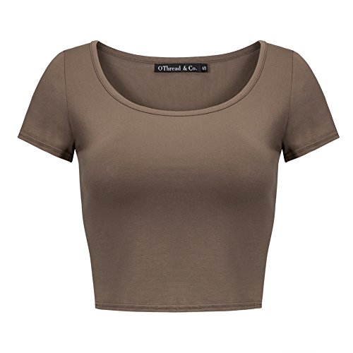 OThread & Co. Women's Basic Crop Tops Stretchy Casual Scoop Neck Cap Sleeve Shirt (Small, Coffee)