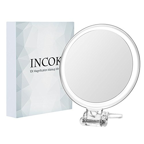 10X 1X Double Sized Magnifying Makeup Mirror - 5'' High Definition Magnified Makeup Mirror Adjustable Multi-use Magnification Vanity Mirror with Handle Portable Home Travel Transparent & Round (5'') by INCOK