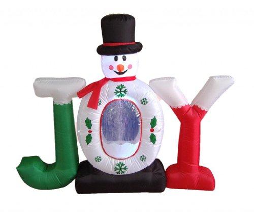 (4 Foot Christmas Inflatable Joy Snowman Snow Globe Yard Decoration )