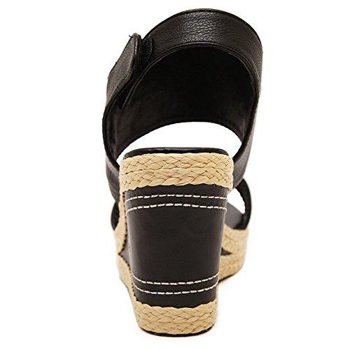 Amoonyfashion Womens Assorti Kleur Pu Hoge Hakken Open Teen Elastische Sandalen Zwart