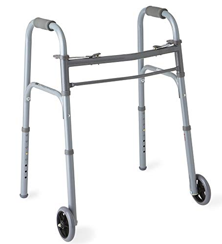 "Medline Junior Two-Button Folding Walker with 5"" Wheels, For Users 4'6"
