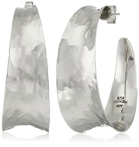 Hammered Sterling Silver Post - Sterling Silver Hammered Hoop Earrings