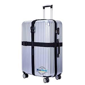 BlueCosto Cross Luggage Straps Suitcase Belts Travel Accessories - Black