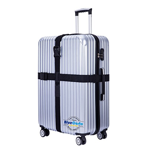 BlueCosto (Black) Heavy Duty Long Cross Luggage Strap Suitcase Travel Belt Non-slip 600001-BLK (Slip Luggage Strap)