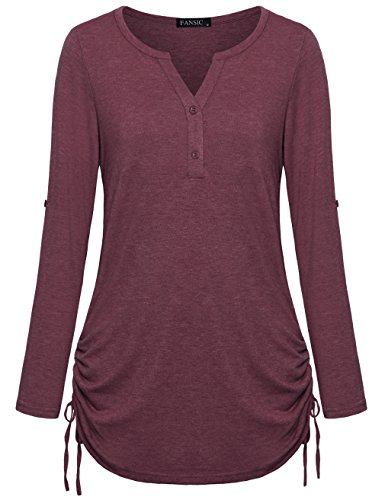 FANSIC Plus Size Clothing for Women, Notch Neck Long Sleeve Comfy Casual Wear Button Down Henley Womens Tee XX-Large ()