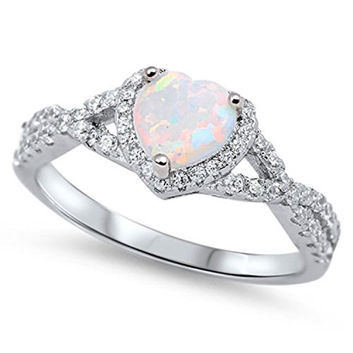 925 Sterling Silver Infinity Shank Halo Promise Ring Heart shape Lab White Created Opal Round Clear - Promise Created Diamond Heart Ring