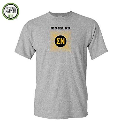 (Sigma Nu Short Sleeve Tshirt- Burst Design - ΣΝ Shirt- Great Shirts For Sigma Nu Rush (Small, Sports Gray))