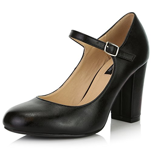 DailyShoes Women's Chunky Classic Round Toe Ankle Strap Shoes with Buckle Closure, Black PU, 8 B(M) US