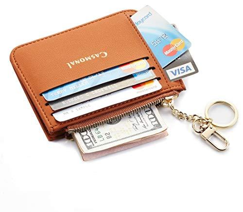 Casmonal Genuine Womens Leather Card Case Holder Minimalist Slim Front Pocket Wallet Coin Change Purse (Tan)
