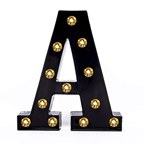 Foaky Black LED Marquee Letter Lights Sign 26 Alphabet Light Up Marquee Letters Sign for Night Light Wedding Birthday Party Battery Powered Christmas Lamp Home Bar Decoration (A) (Metal Lighted Letters)