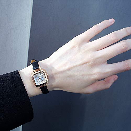 Korea Fashion Retro Fashion Belt Thin Small Square dial Bracelet Bangle Small Watch Quartz Watch Classic Women Girls Tide (Black