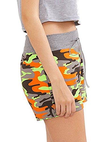 Sportiva Comfort Chic Palestra Jogging Elegante Pantaloni Pantaloncini Cute Coulisse Mieuid Sportivi Donna Estivi Casuali Arancia Camouflage Shorts OqnfXv