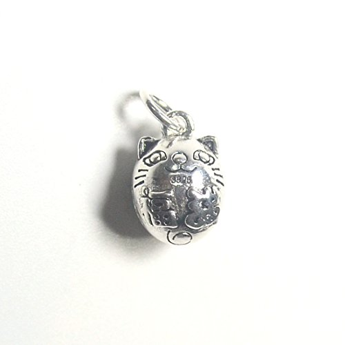 - 925 Sterling Silver Lucky Cat Bell Charms Antique Silver Jewelry Cute Cat Pendant Dangle Charm Jewelry
