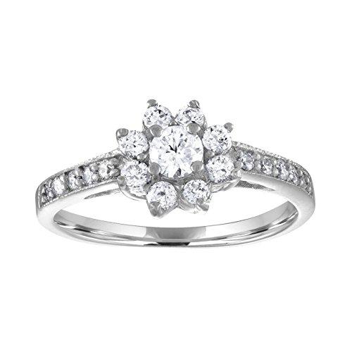 Sterling Silver CZ Cluster Flower Statement Ring - 8