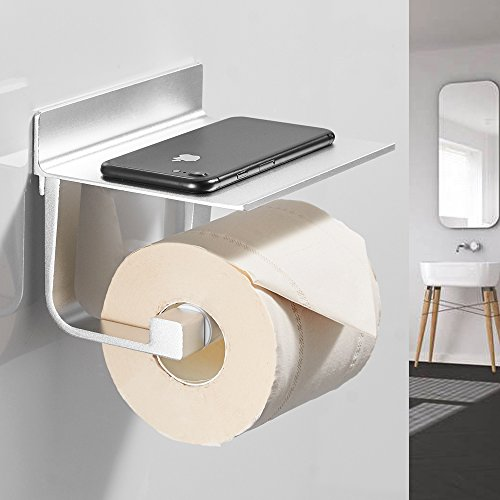 BESy Self Adhesive Pivoting Toilet Paper Holder Shelf, Bathroom Tissue Roll Hanger Mobile Phone Storage Shelf, Aluminum, Drill Free Glue Wall Mount Screws, Dull Polished Silver by BESy (Image #1)