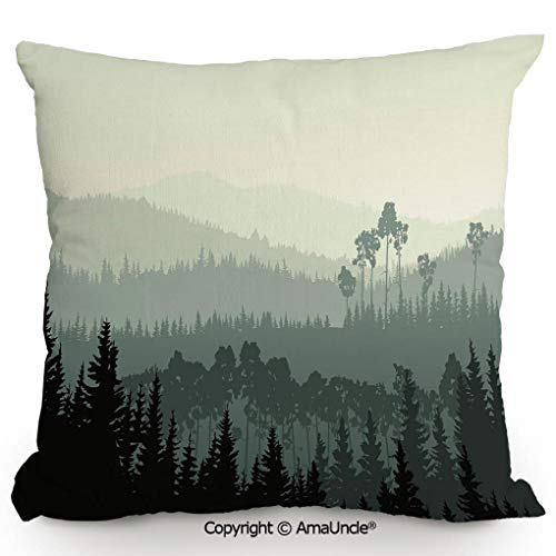 SCOXIXI Decorative Square Throw Pillow Case with Cotton and Linen,The Panorama of A Valley and A Mystic Forest of Pine Trees,W16xL16 Inches