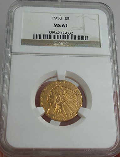 1910 P Liberty $5 Indian Head, Eagle Reverse $5 MS-61 NGC