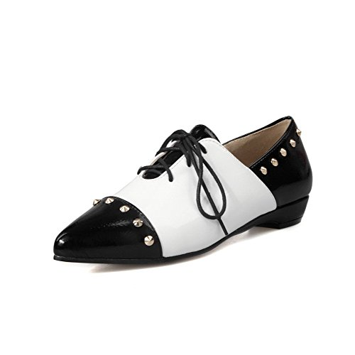 AmoonyFashion Womens Assorted Color PU Low-Heels Pointed Closed Toe Lace-up Pumps-Shoes Black e7bpq6