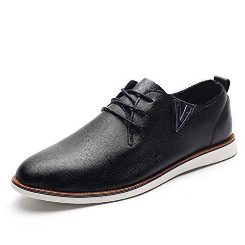 最も量がっかりする[QIFENGDIANZI]靴 メンズ モカシン ウォーキングシューズ カジュアルシューズ レースアップ クッション コンフォート 通気性 滑り止め 通勤 黒 ブラウン
