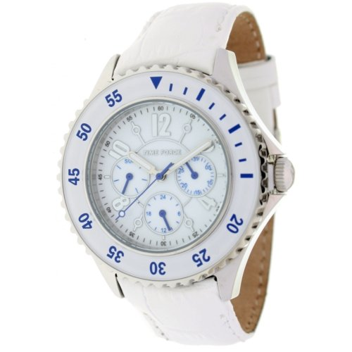 Timeforce TF3300L03 41mm Stainless Steel Case White Leather Mineral Men's & Women's Watch