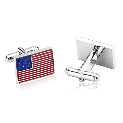 - ANAZOZ Stainless Steel Cufflinks for Men Shirt Cufflinks Wedding Blue Red Rectangle 2x1.4CM