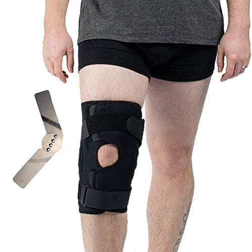 Hinged Knee Brace, Open Patella Wraparound Knee Stabilizer Support for Prevent Sport Trauma, Hyperextension, Meniscus Tears, Ligament Injuries Sprains and Reduce Pain - Medium