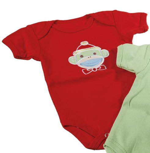 Monkey Sock Monkeez - Genuine Monkeez Embroidered Monkey Romper Choose Color (Red)