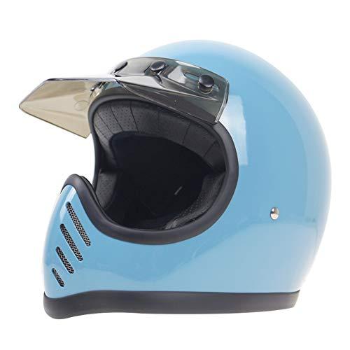 Sunzy Handmade FRP Retro Motorcycle Helmet DOT ECE Certified Vintage Full Helmet MOTO3 Nostalgic,XL