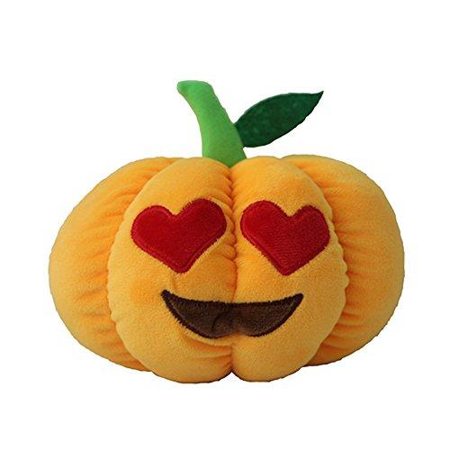 [DolphineShow Heart Eyes Emoji Pillows Orange Yellow Pumpkin Decorative Emoticon Stuffed Plush Toy Decorations] (Cheap Hallowen Costumes)