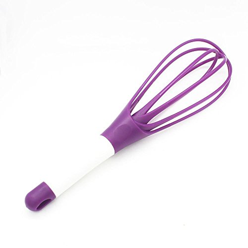 Purple Whisk (Queen Chef Twist Whisk 2-in-1 Balloon and Flat Wire Whisk, Egg Frother, Milk and Egg Beater Blender - Kitchen Utensils for Blending, Whisking, Beating, Stirring, Silicone Coated Steel Wire, Purple)