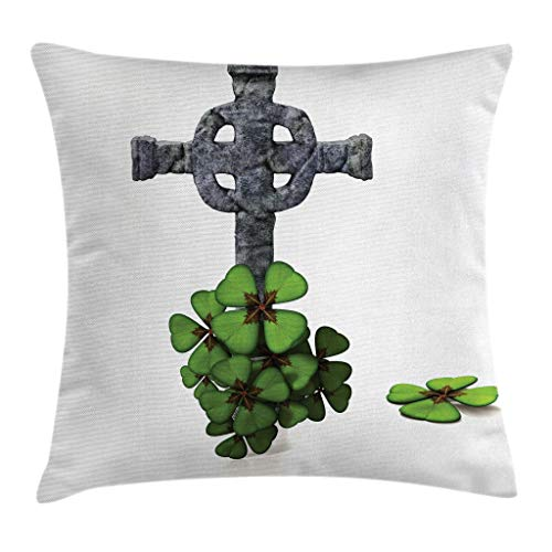 Ambesonne Celtic Throw Pillow Cushion Cover, Celtic Knot Pattern with Four Leaf Clover Floral Design Saint Patrick's Day Theme, Decorative Square Accent Pillow Case, 18 X18 Inches, Grey Green