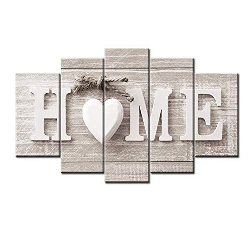 LIBINA Cuadro en Lienzo Monet, 5 Unidades Love Home Arte Decorativo Pared Imagenes Grabados Grande Estar enmarcados Lienzo Abstracto Dormitorio panoramico,30X40cmX2+30X60cmX2+30X80cmX1