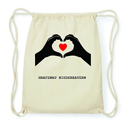 JOllify GRAFENAU NIEDERBAYERN Hipster Turnbeutel Tasche Rucksack aus Baumwolle - Farbe: natur Design: Hände Herz