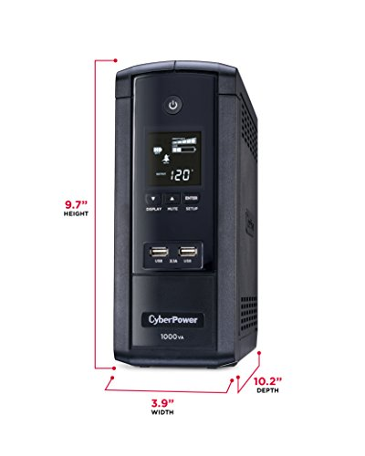 CyberPower BRG1000AVRLCD Intelligent LCD UPS System, 1000VA/600W, 10 Outlets, AVR, Mini-Tower, 5-Year Warranty by CyberPower (Image #2)