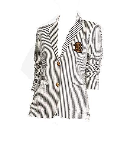 LAUREN RALPH LAUREN Womens Striped Embroidered Jacket White 10