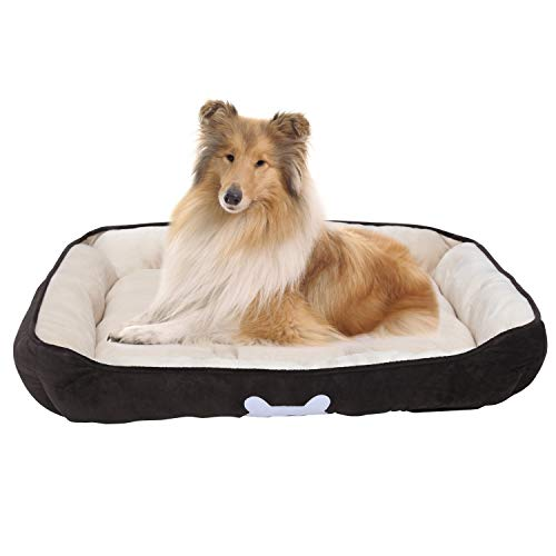 long rich Large Classic Solid Rectangle Dog and Pet Bed with Dog Bone Print, 24x34 inches, Brown Color, by Happycare Textiles,